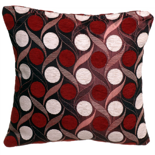 STYLISH TRENDY CIRCLES LEAF DESIGN FILLED CUSHION TERRACOTTA ORANGE COLOUR